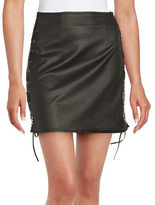French Connection Rebound Leatherette Lace-Up Mini Skirt