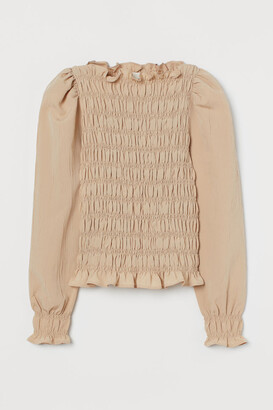 H&M Puff-sleeved Smocked Blouse - Beige