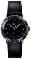 Junghans 027/3702.00 Max Bill Stainless Steel Leather Strap Watch, Black