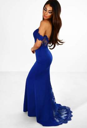 Pink Boutique Hollywood Babe Blue Embroidery Detail Bardot Maxi Dress