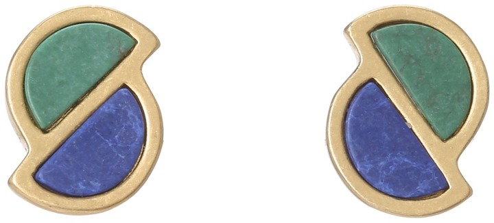 Marc by Marc Jacobs Peacock Half Circle Studs Earrings (Bauhaus Blue/Dino Green) - Jewelry