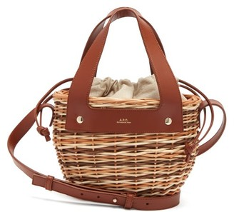 A.P.C. Colette Small Leather And Wicker Basket - Tan