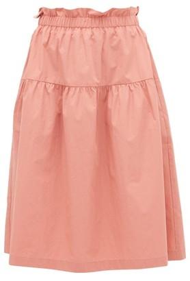 Araks Ulu Paperbag-waist Cotton-poplin Skirt - Pink