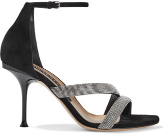 Sergio Rossi Milano Crystal-embellished Suede Sandals