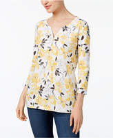 Karen Scott Petite Printed Henley Top, Created for Macy's