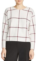Maje Mademoise Grid-Print Sweater