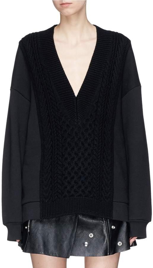 Alexander Wang Sweatshirt panel Merino wool knit sweater
