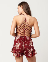 Full Tilt Floral Cage Back Womens Romper