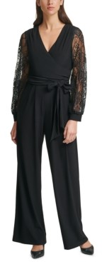 Jessica Howard Lace-Sleeve Jumpsuit
