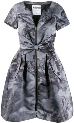 Moschino Pre Owned 1990s Angel Printed Belted Dress