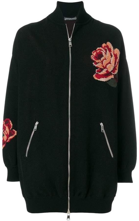 Alexander McQueen Rose Tapestry Oversized Knitted bomber jacket