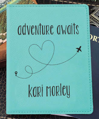 Stamp Out Online Passport Holders teal - Teal 'Adventure Awaits' Personalized Passport Cover