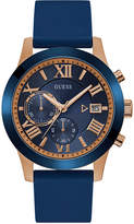 GUESS Men's Chronograph Blue Silicone Strap Watch 45mm