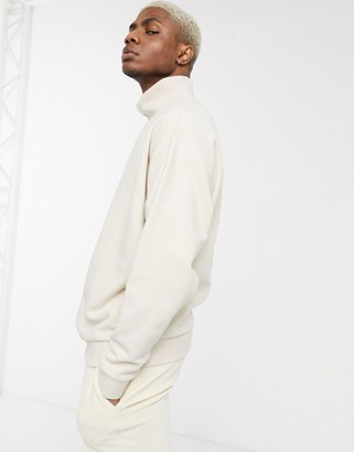 BEIGE ASOS DESIGN oversized funnel neck sweatshirt in