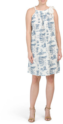 Made In Italy Linen Side Tie Toile Print Dress