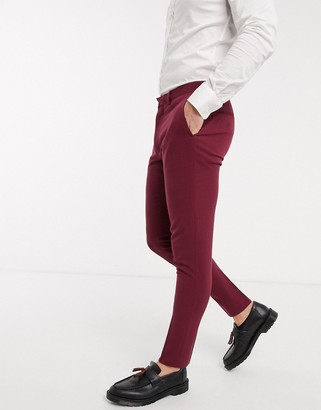 ASOS DESIGN super skinny suit trousers in burgundy in four way stretch