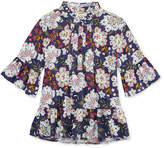 Arizona Pintucked Round Neck Long Sleeve Bell Sleeve Blouse - Preschool Girls