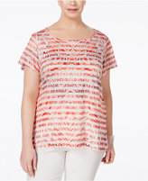 Style&Co. Style & Co Plus Size Printed High-Low Top, Only at Macy's