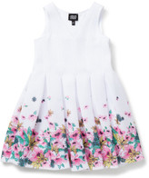 Armani Junior Girls Flared Dress With Floral Border