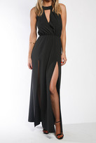 Donna Mizani Draped Halter Gown In Black