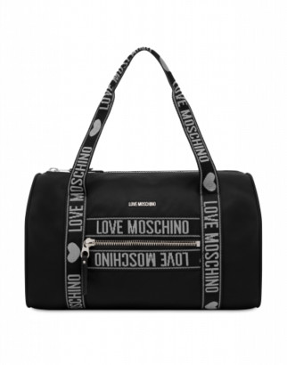 Love Moschino Duffle Bag In Nylon Moschino Tapes Woman Black Size U It - (one Size Us)