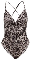 Norma Kamali Butterfly Mio Leopard-print Ruched Swimsuit - Womens - Grey Print