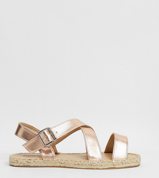Simply Be wide fit strappy sandals in rose gold