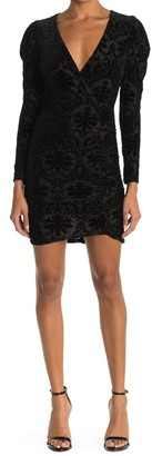 Lush Flocked Velvet Long Sleeve Ruched Mini Dress