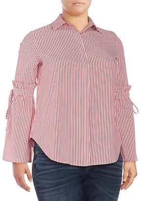 Lea & Viola Curve Plus Bell-Sleeve Blouse