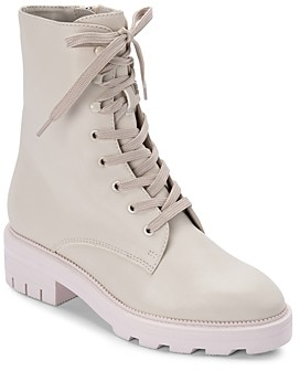Dolce Vita Women's Lottie Almond Toe Leather Combat Booties