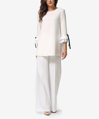 LADA LUCCI Women's Casual Pants Milky - Milky Ruffle-Sleeve Tunic & Wide-Leg Pants - Women & Plus