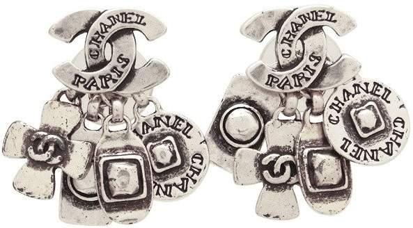 Chanel CC Logo Silver Tone Metal Charms Dangle Stud Earrings