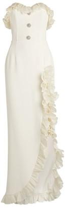 Alessandra Rich Strapless Ruffle Split Dress
