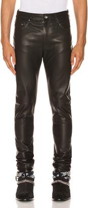 Amiri 5 Pocket Leather Pant in Black   FWRD