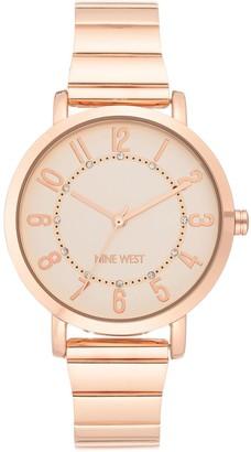 Nine West Women's Rosetone Stainless Glitter Dial Watch