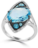 Effy 14K White Gold Blue Topaz Solitaire Ring with 0.13 TCW Diamonds