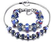 Bling Toman Stainless Steel Bracelets Sets Pulseira Beads Charm Necklace Set For Women Glass /Crystal Beads Jewelry