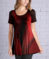 Lily Red & Black Abstract Scoop Neck Tunic - Plus Too