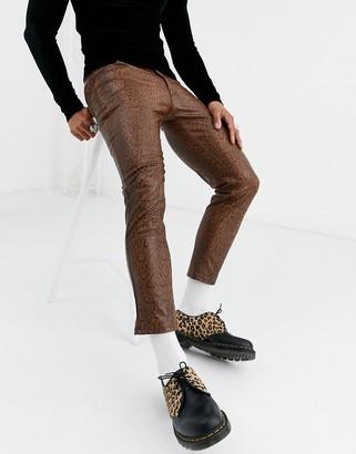 Asos DESIGN skinny coated leather look jeans in brown snakeskin