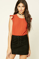 Forever 21 FOREVER 21+ Pleated Cap-Sleeve Blouse