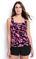 Classic Women's Plus Size DD-Cup Underwire Squareneck Tankini Top-Black Twilight Floral