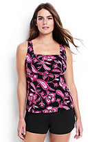 Classic Women's Plus Size Long Underwire Squareneck Tankini Top-Black Twilight Floral