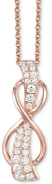 "LeVian Le Vian White Diamond Infinity 18"" Pendant Necklace (1/3 ct. t.w.) in 14k Rose Gold"