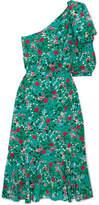 Saloni Juliet One-shoulder Floral-print Silk-satin Dress - Green