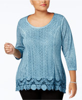 Style&Co. Style & Co Plus Size Lace-Trim High-Low Top, Created for Macy's