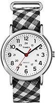 Timex Women's TW2R24300 Weekender Black Gingham Nylon Slip-Thru Strap Watch
