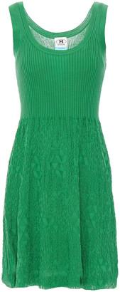 M Missoni Crochet Knit-paneled Ribbed Cotton Mini Dress