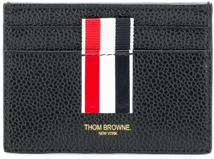 new product ce859 471af Vertical Intarsia Stripe Single Cardholder In Pebble Grain Leather