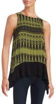 Kensie Printed Asymmetrical Knit Top