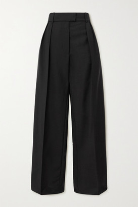 Valentino Pleated Mohair And Wool-blend Wide-leg Pants - Black